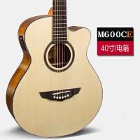 卡斯摩乐器40寸41寸吉他民谣吉他初学入门木吉他电箱吉他jita 40寸M600C原木色电箱