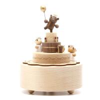 木质旋转八音盒小熊生日快乐音乐盒创意礼物送女生