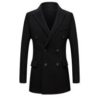 男士中年羊毛呢双排扣 双面呢双排扣羊毛呢子大衣男冬季短款韩版帅气无羊绒