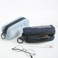 小清新创意帆布学生笔袋男女简约纯色大拉链笔盒大容量文具袋