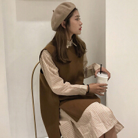 春季新款韩版不规则无袖毛呢马甲+中长款条纹衬衫连衣裙女打底裙