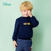 迪士尼Disney童装 男童外套秋冬新款加绒保暖卫衣肩开扣宝宝休闲圆领长袖上衣183S1059