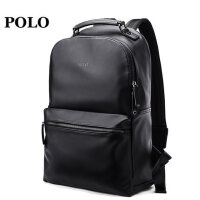 Polo时尚潮流双肩包男 青年书包 商务简约皮电脑大学生男士背包