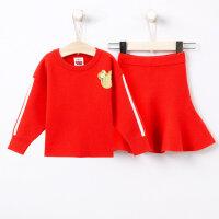 【2件2.5折到手价:】美特斯邦威旗下moomoo童装女童毛织套装秋装迪士尼洋气韩版针织衫裙子两件套