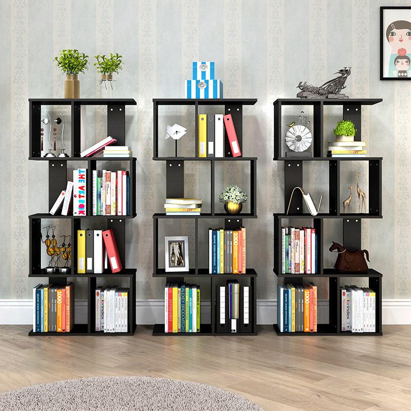 富兰迪 环保加厚现代创意S型书柜 亲子儿童学生DIY多层书橱组合收纳架落地置物架支付礼品卡 简约现代 环保实用
