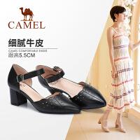 Camel/骆驼女鞋2018夏季新款 真皮透气尖头单鞋性感镂空舒适粗跟高跟鞋