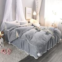 公主风兔兔绒四件套冬季加厚保暖珊瑚绒法莱绒1.8m床单被套床裙款