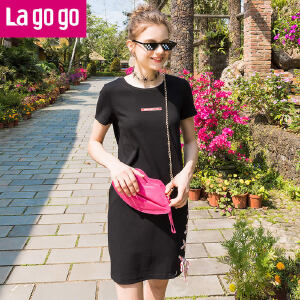 【清仓3折价107.7】Lagogo2019夏季新款黑色裙子中长款短袖圆领百搭休闲绑带连衣裙HALL313Y45