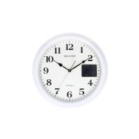 台湾得利华温湿度计白色挂钟北欧简约时钟客厅卧室静音石英钟表圆 白色 16英寸