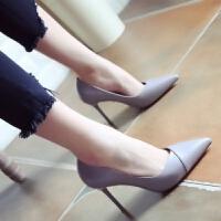 红色婚鞋2018秋季新款欧美风尖头鞋显瘦细跟高跟鞋时尚单鞋女鞋子