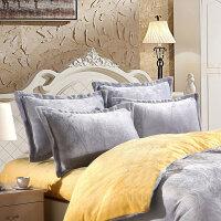 ???冬季珊瑚绒枕套加厚法莱绒枕芯套双面加绒枕头套一对法兰绒48*74 银色 纯色银灰一对 48cmX74cm