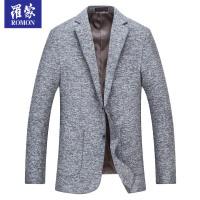 罗蒙(ROMON)西服男中长款2018春季新款男士西装中年商务休闲礼服正装