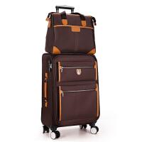 商务拉杆箱万向轮旅行箱行李箱牛津布帆布箱子男女通用822寸26寸 咖啡 黄边