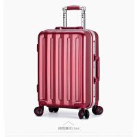 红色结婚行李箱拉杆箱万向轮女磨砂防刮铝框旅行箱学生密码登机箱 小米同款酒红色 .