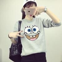 2018秋装新款韩版卡通卫衣女宽松套头圆领长袖学生可爱t恤绒衫潮