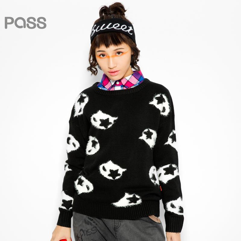 【不退不换】PASS原创潮牌冬装 罗纹圆领长袖保暖可爱撞色毛绒图案毛衣女6540423030