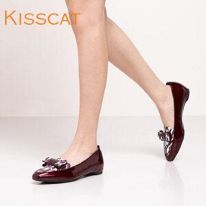 接吻猫平跟鞋小蝴蝶结装饰牛皮浅口单鞋女KA76504-11