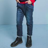 【5折价:139元】暇步士童装冬季新款男童加绒长裤双层加厚牛仔裤儿童加绒长裤