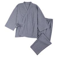 日式和服情侣睡衣女秋季 学生宽松长袖波点休闲 春男士家居服套装