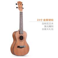 尤克里里23寸初学者学生女男小吉他乌克丽丽儿童入门a111 23寸金香琥珀+全套