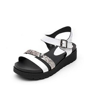 Tata/他她夏专柜同款时尚拼接一字带休闲坡跟女凉鞋T2317BL7
