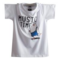2018男士短袖T恤 �B半袖个性韩版潮流夏季男装宽松上衣服 白色 音乐鸟