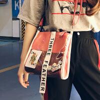 透明包ins新款潮流印花马卡龙多色女包港风时尚女生斜跨小包
