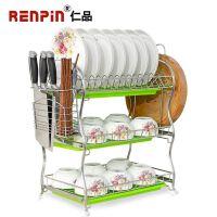 仁品 碗架 餐具架子 沥水架不锈钢304三层厨房用品收纳置物架双层碗碟盘子架 食品不锈钢 大容量 承重力强