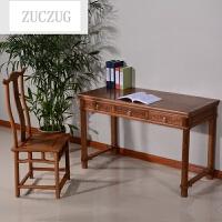 ZUCZUG红色木家具 鸡翅木书桌 家用复古中式实木写字台仿古办公桌电脑桌 158书桌 + 椅子