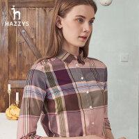 Hazzys哈吉斯�r衫女士新款2020年夏季�O�感小�格子�L袖�r衣外套