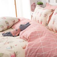 纯棉床上三件套1.2m单人床 公主风1.8m床网红床单被套四件套