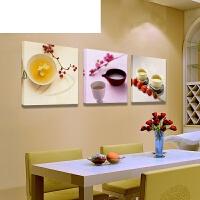 餐厅装饰画 客厅壁画沙发背景墙画卧室简约无框画水果三联画挂画 40*40(适合2米宽墙面) 整套价格【含三幅】