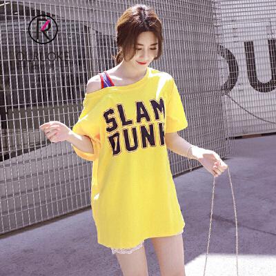 欧若珂  2018夏韩版字母印花露肩一字领短袖T恤女中长款宽松学生上衣潮