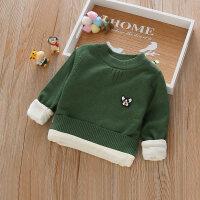 儿童针织衫男童婴儿套头打底衫宝宝加绒加厚圆领线衣女童毛衣冬装