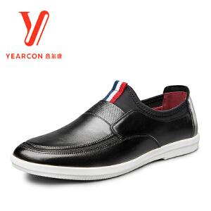 意尔康男鞋正品2017年春季新款真皮青年男士单鞋时尚套脚休闲皮鞋