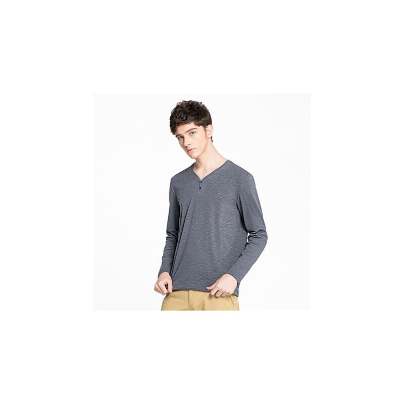 camel 骆驼男装 年春季新款纯色棉质长袖打底衫V领绣标男士休闲T恤