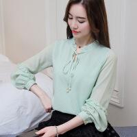 2018雪纺衫女长袖蝴蝶结系带打底衫上衣 浅绿色 S