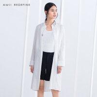 [AMII东方极简] JII[东方极简]2017秋装女装亚麻衬衫长袖中长款衬衣