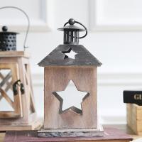 欧式复古烛台摆件铁艺木灯笼玻璃创意装饰北欧美式ins田园