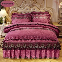 天鹅绒床裙式四件套夹棉加厚床罩4件套秋冬保暖被套床上用品