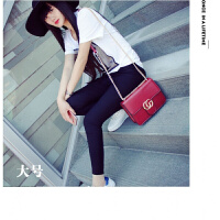 新款韩版女包小方包单肩包时尚女士包迷你包斜挎包小包链条包 酒红色大号【】 送眼镜包