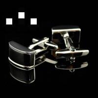 新款 Cufflinks智慧方形袖扣袖钉男士法式衬衫袖口钮xx 黑色