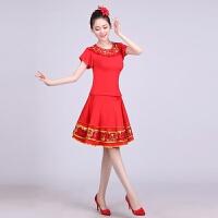 新款广场舞服装新款套装长袖短袖裙裤广场舞套装短裙演出服装大码 红色 短袖裙装