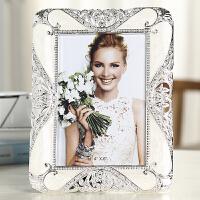 奢华欧式相框摆台十寸创意婚纱照相片框相架6寸7寸10寸8寸可挂墙 白色 象牙白