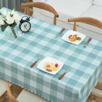 20180718093452851茶几餐桌布防水防油防烫PVC塑料免洗桌布 欧式田园格子长方形桌垫