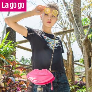 Lagogo2018年夏季新款圆领贴布绣刺绣T恤网纱裙子假两件女装潮HATT353C10