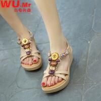 乌龟先森 凉鞋女式夏季新款韩版时尚休闲波米西亚坡跟鞋子舒适百搭镶嵌彩石珠串女式凉鞋