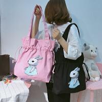 韩国清新卡通兔子抽绳帆布单肩包学生文艺女手提包简约环保购物袋