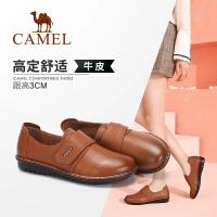 Camel/骆驼女鞋 2018秋季新款简约舒适真皮低跟魔术贴单鞋女