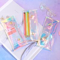简约小清新创意镭射铅笔袋韩国可爱初中男女生透明按扣文具盒用品
